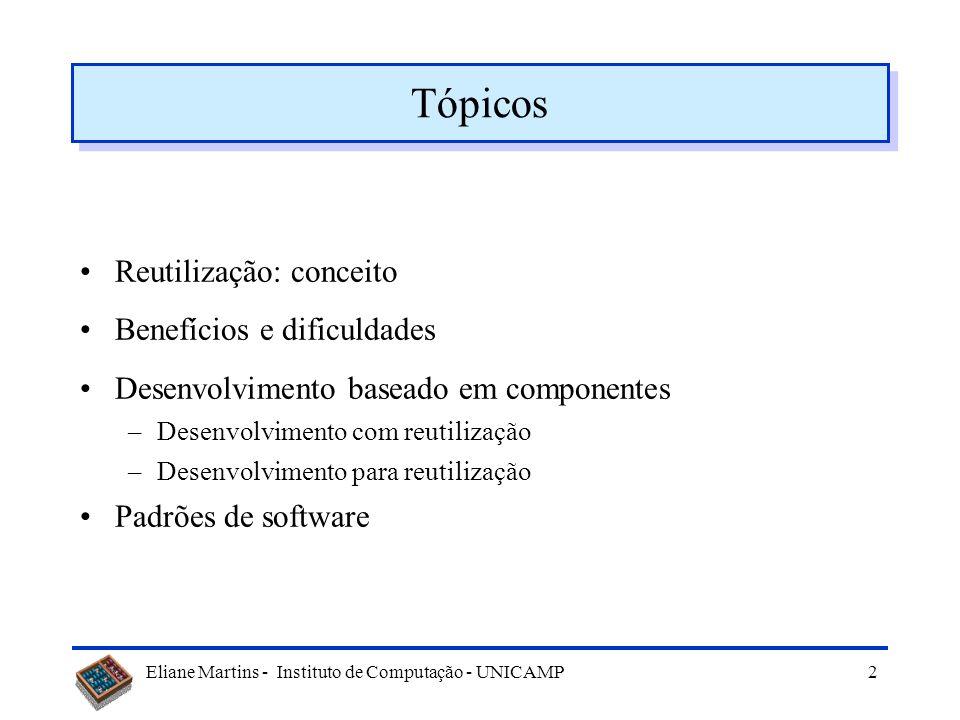 Tópicos Reutilização: conceito Benefícios e dificuldades