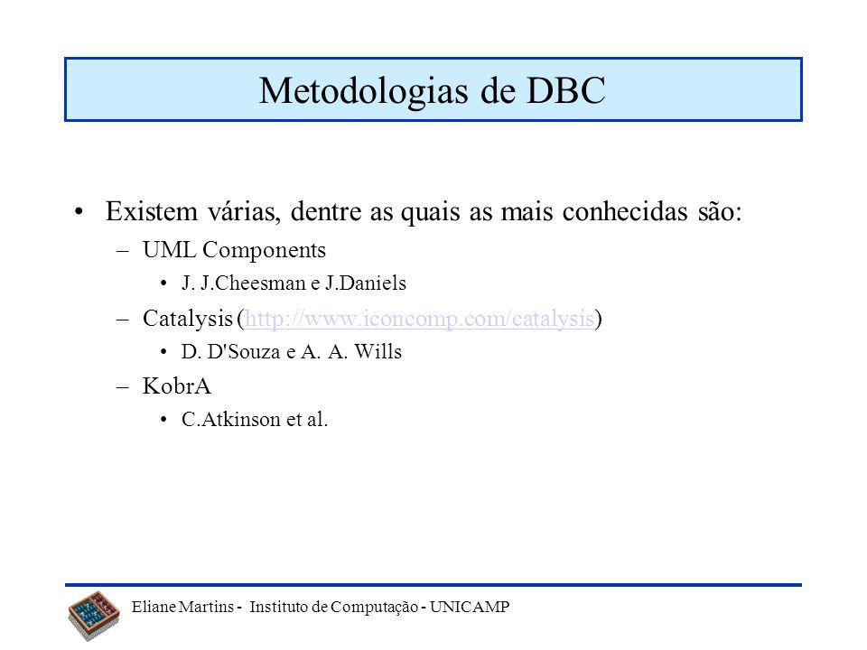 Metodologias de DBC Existem várias, dentre as quais as mais conhecidas são: UML Components. J. J.Cheesman e J.Daniels.