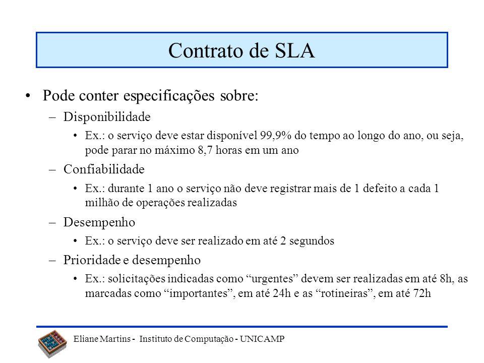 Contrato de SLA Pode conter especificações sobre: Disponibilidade