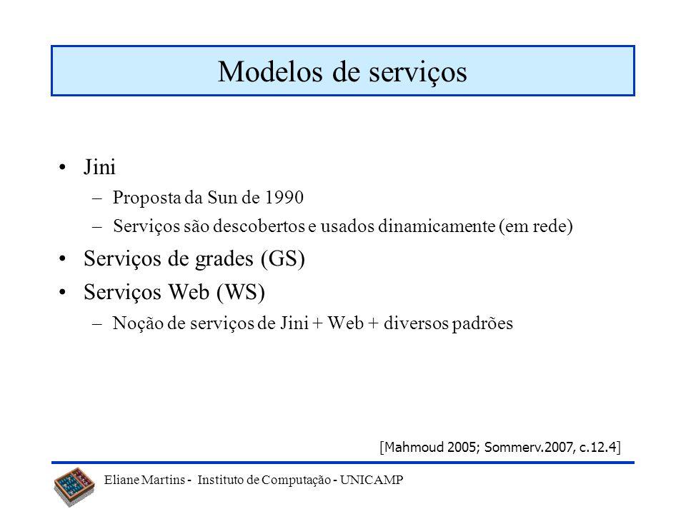 Modelos de serviços Jini Serviços de grades (GS) Serviços Web (WS)
