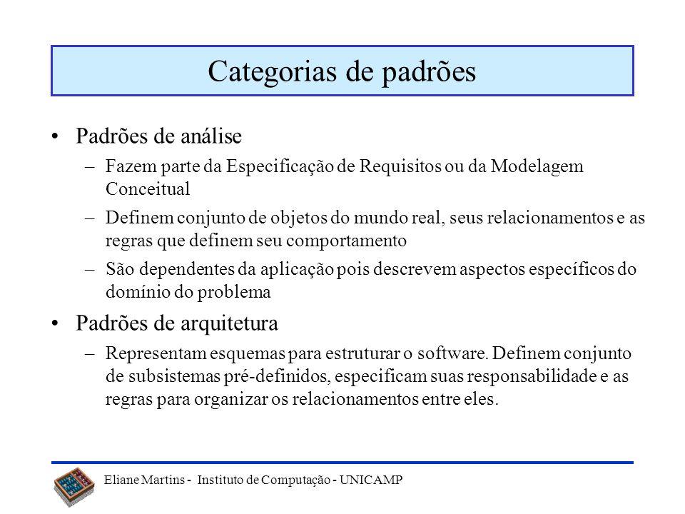 Categorias de padrões Padrões de análise Padrões de arquitetura