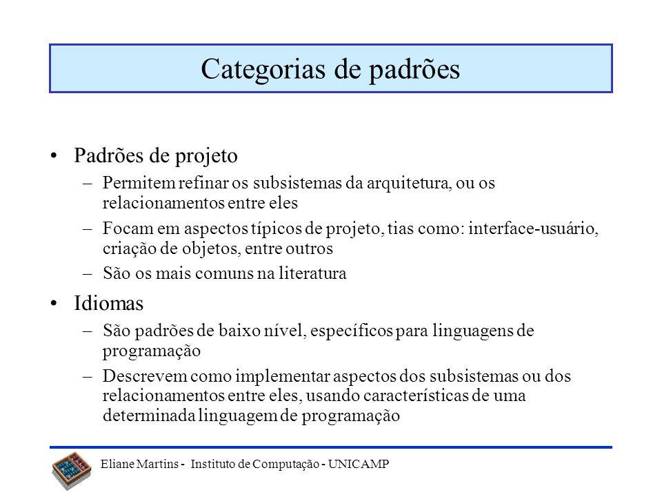 Categorias de padrões Padrões de projeto Idiomas