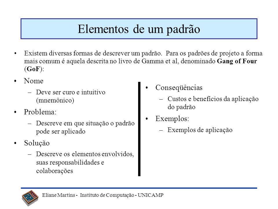 Elementos de um padrão Nome Conseqüências Problema: Exemplos: Solução