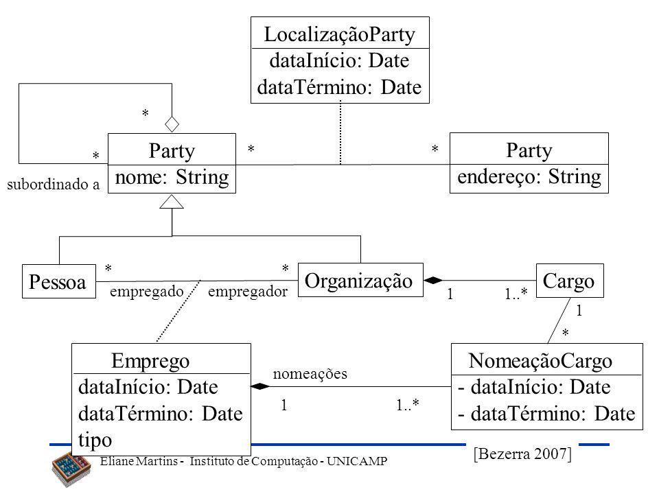 LocalizaçãoParty dataInício: Date dataTérmino: Date Party nome: String