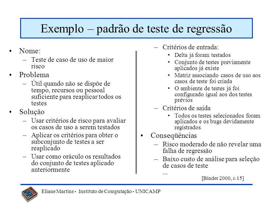 Exemplo – padrão de teste de regressão