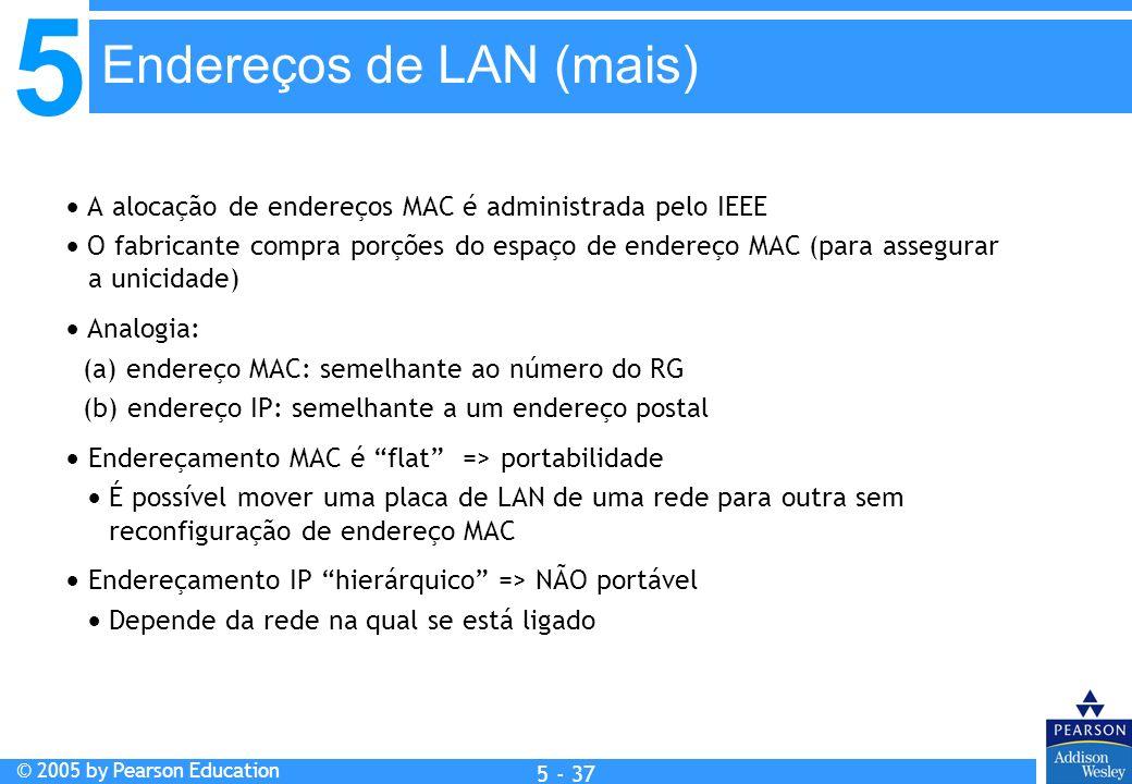 Endereços de LAN (mais)