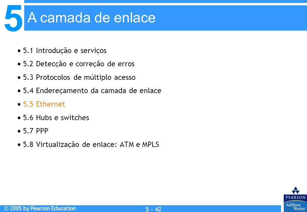 A camada de enlace  5.1 Introdução e serviços
