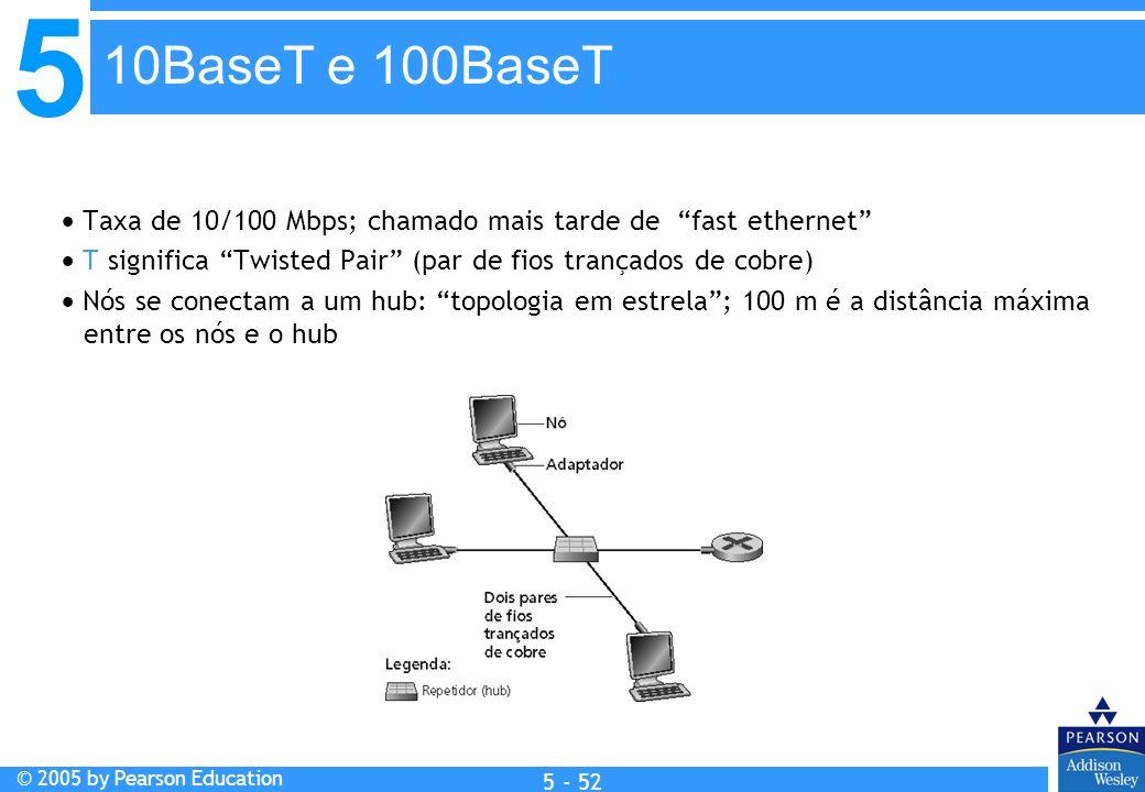 10BaseT e 100BaseT  Taxa de 10/100 Mbps; chamado mais tarde de fast ethernet  T significa Twisted Pair (par de fios trançados de cobre)