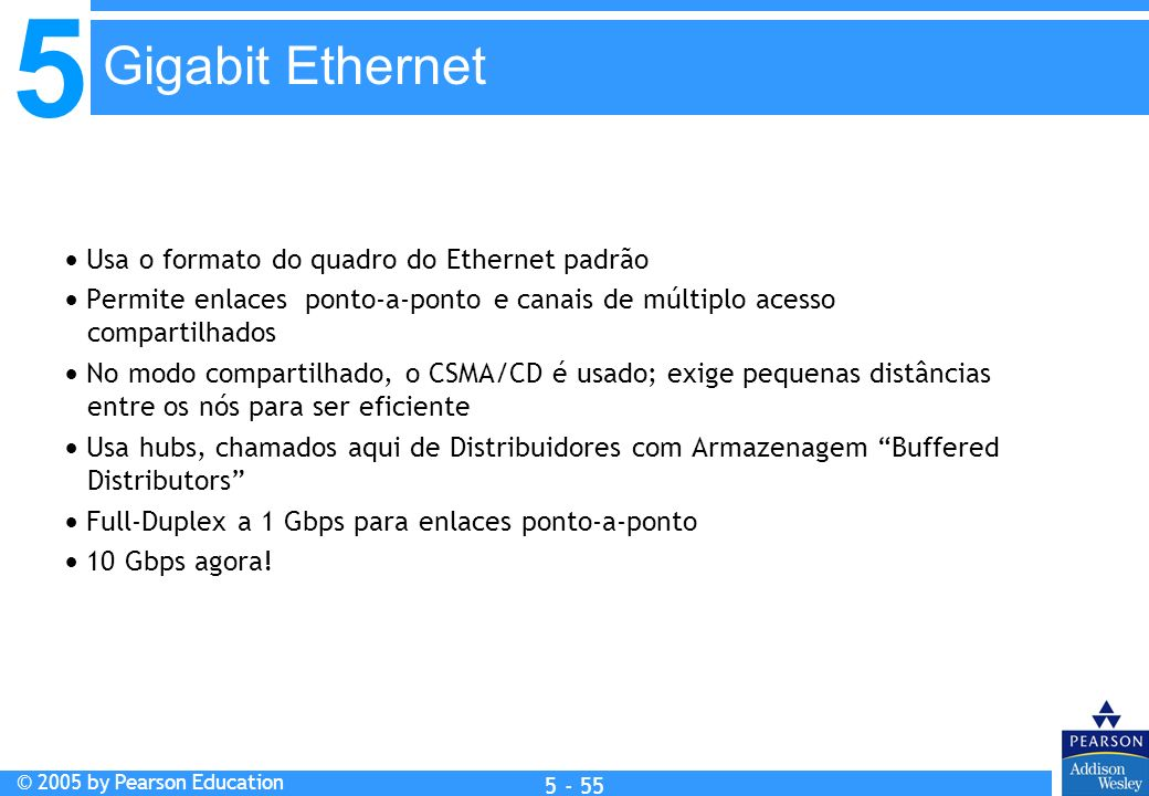 Gigabit Ethernet  Usa o formato do quadro do Ethernet padrão