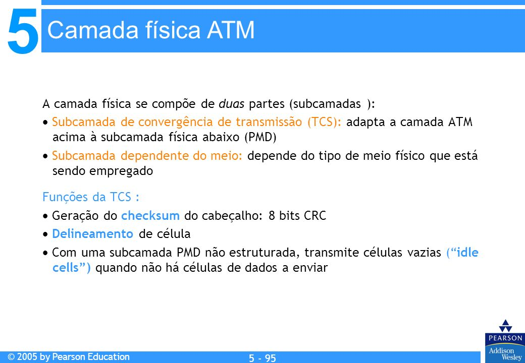 Camada física ATM A camada física se compõe de duas partes (subcamadas ):