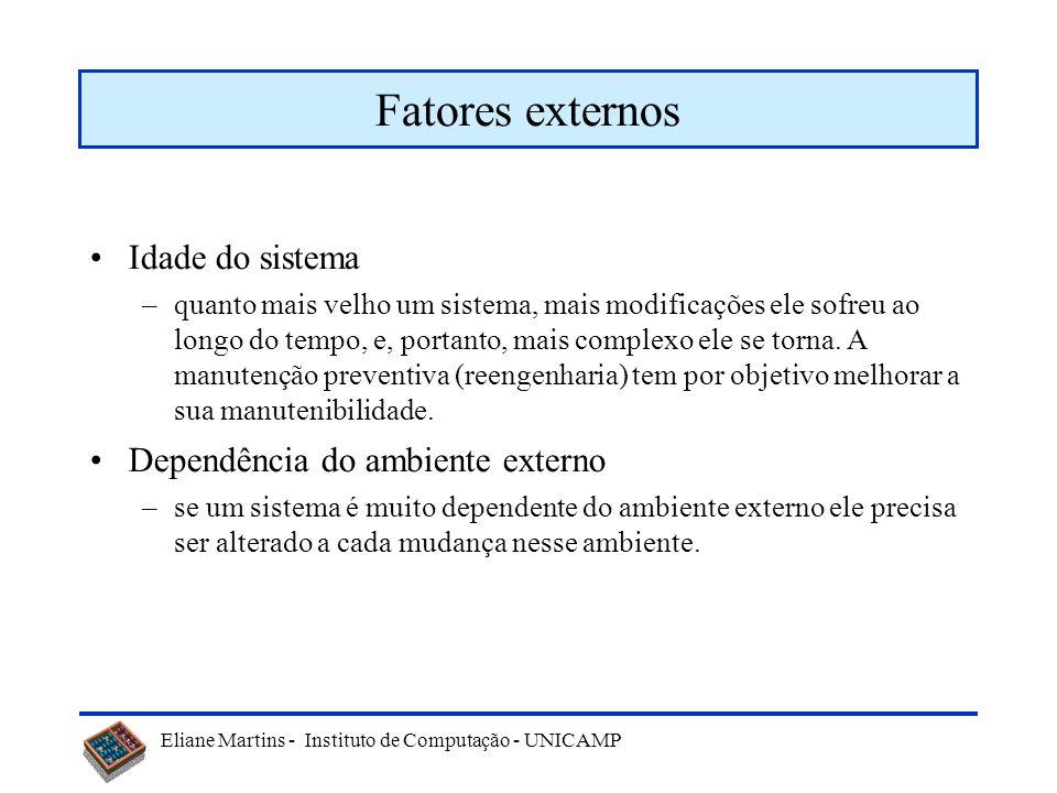 Fatores externos Idade do sistema Dependência do ambiente externo