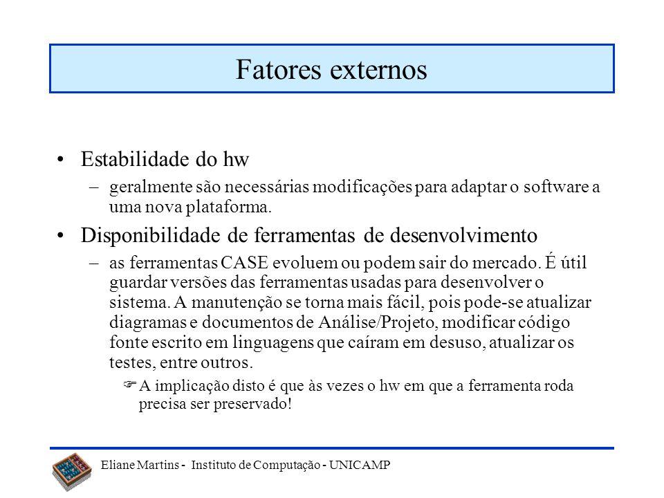 Fatores externos Estabilidade do hw