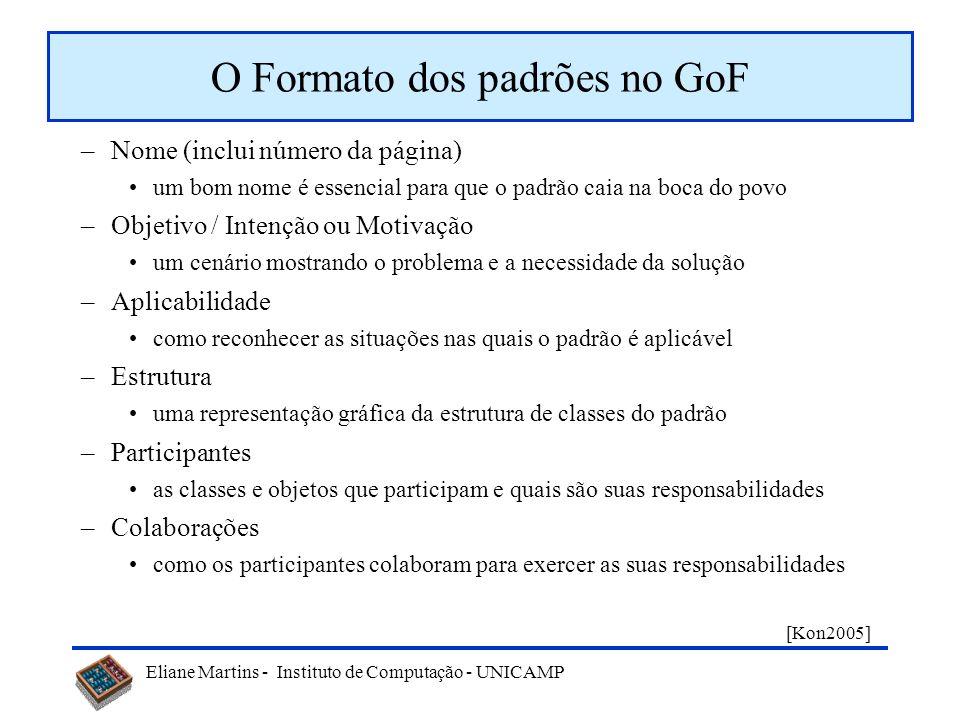 O Formato dos padrões no GoF