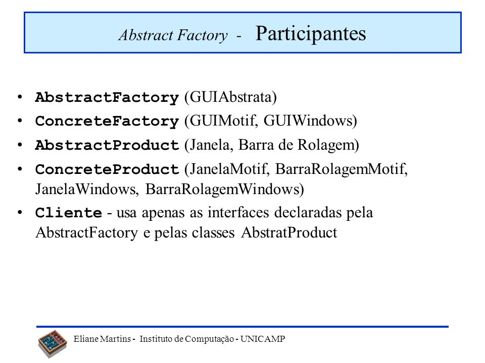 Abstract Factory - Participantes