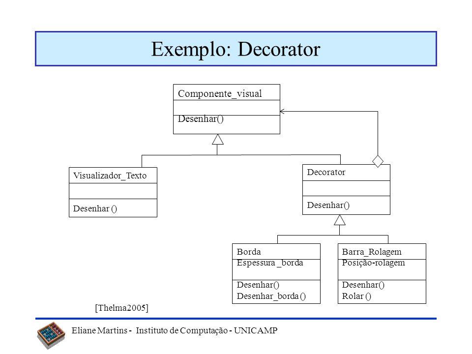 Exemplo: Decorator Componente_visual Desenhar() Decorator Desenhar()