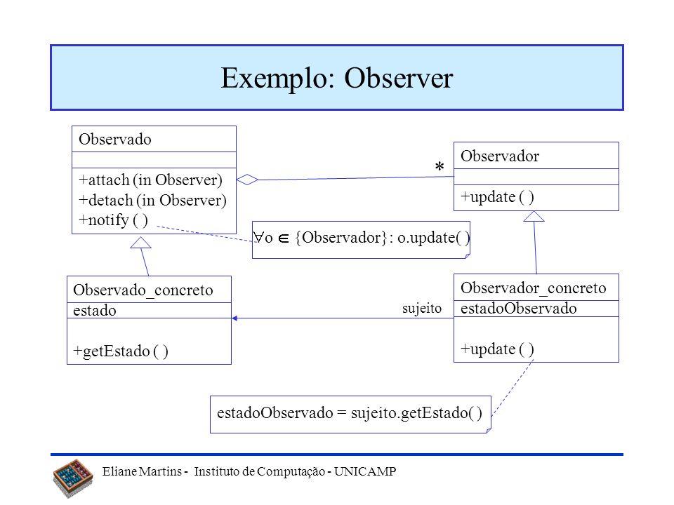 Exemplo: Observer * Observado Observador +attach (in Observer)