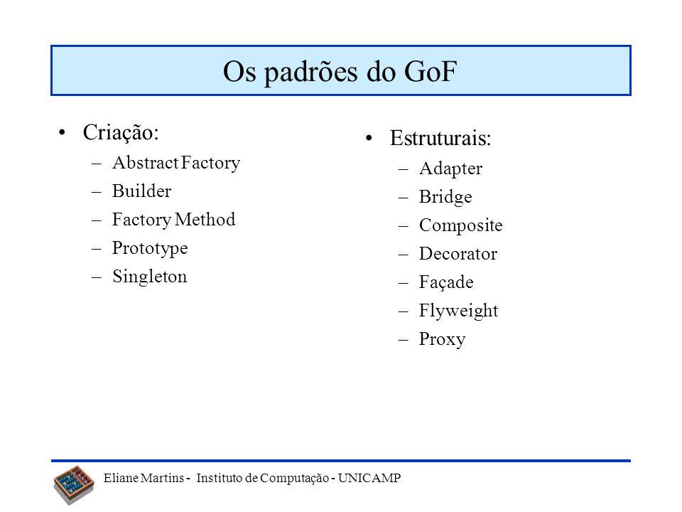 Os padrões do GoF Criação: Estruturais: Abstract Factory Adapter