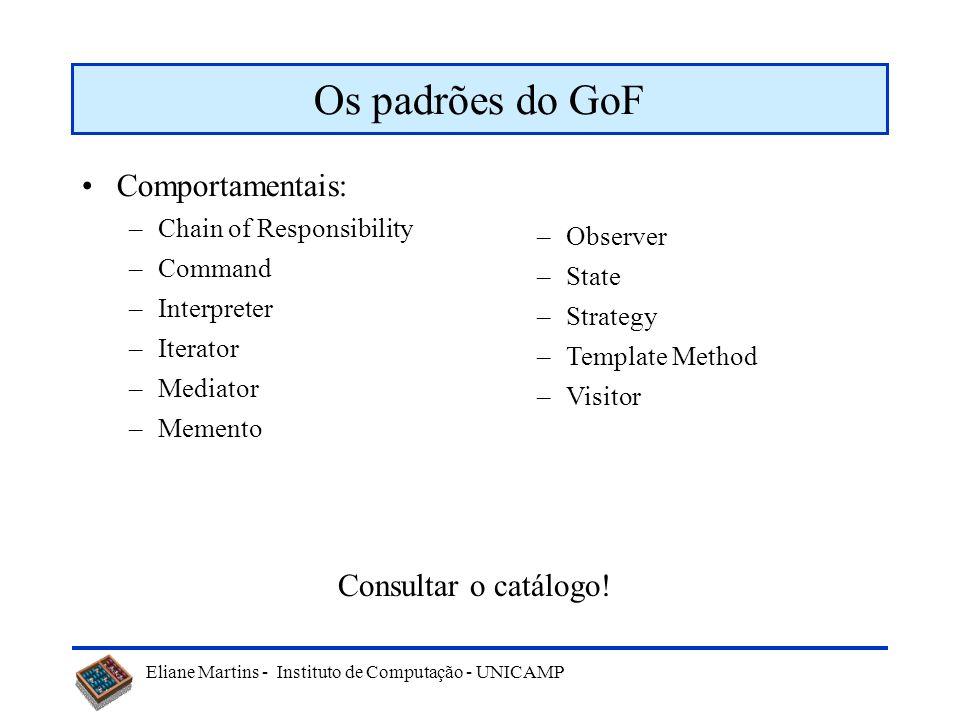 Os padrões do GoF Comportamentais: Consultar o catálogo!