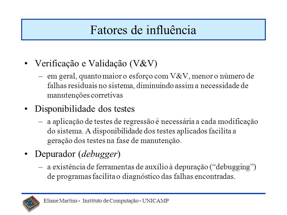 Fatores de influência Verificação e Validação (V&V)