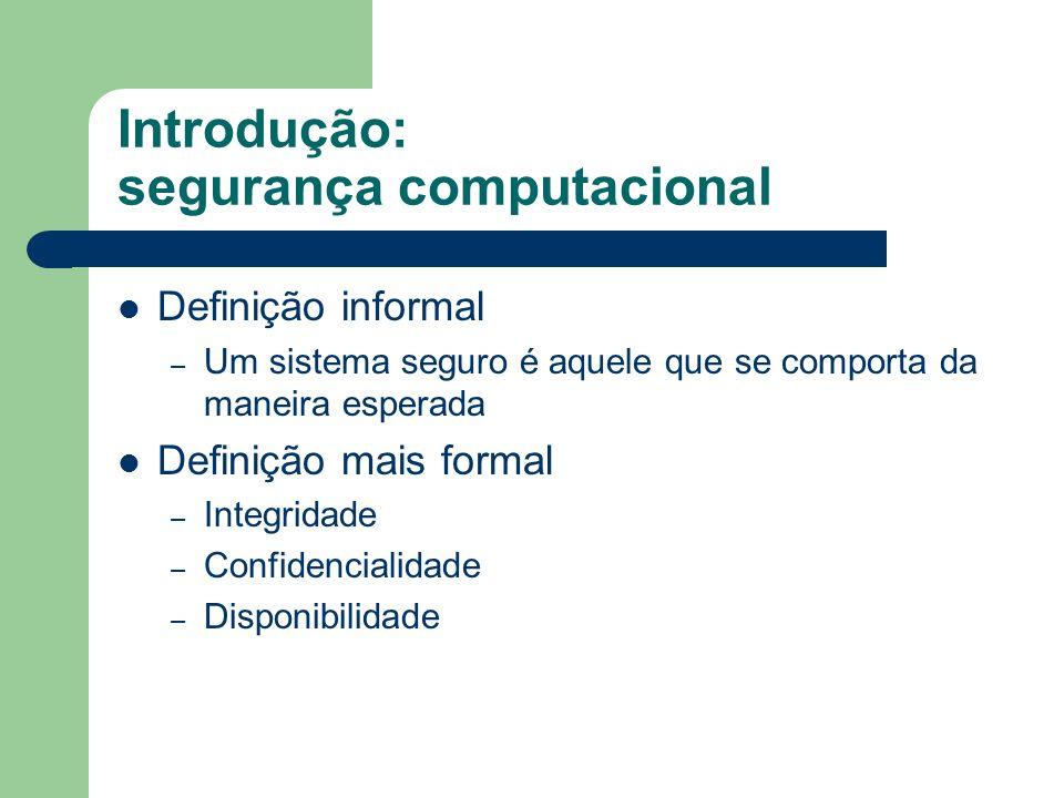 Introdução: segurança computacional