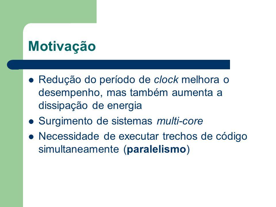 Motivação Redução do período de clock melhora o desempenho, mas também aumenta a dissipação de energia.