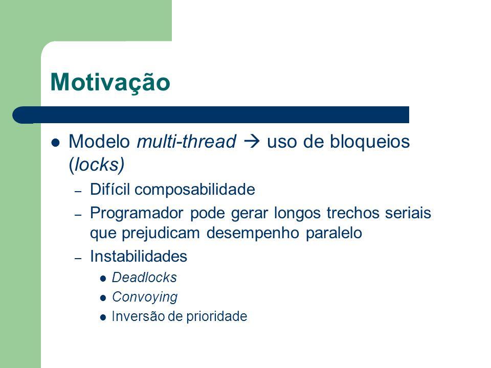 Motivação Modelo multi-thread  uso de bloqueios (locks)