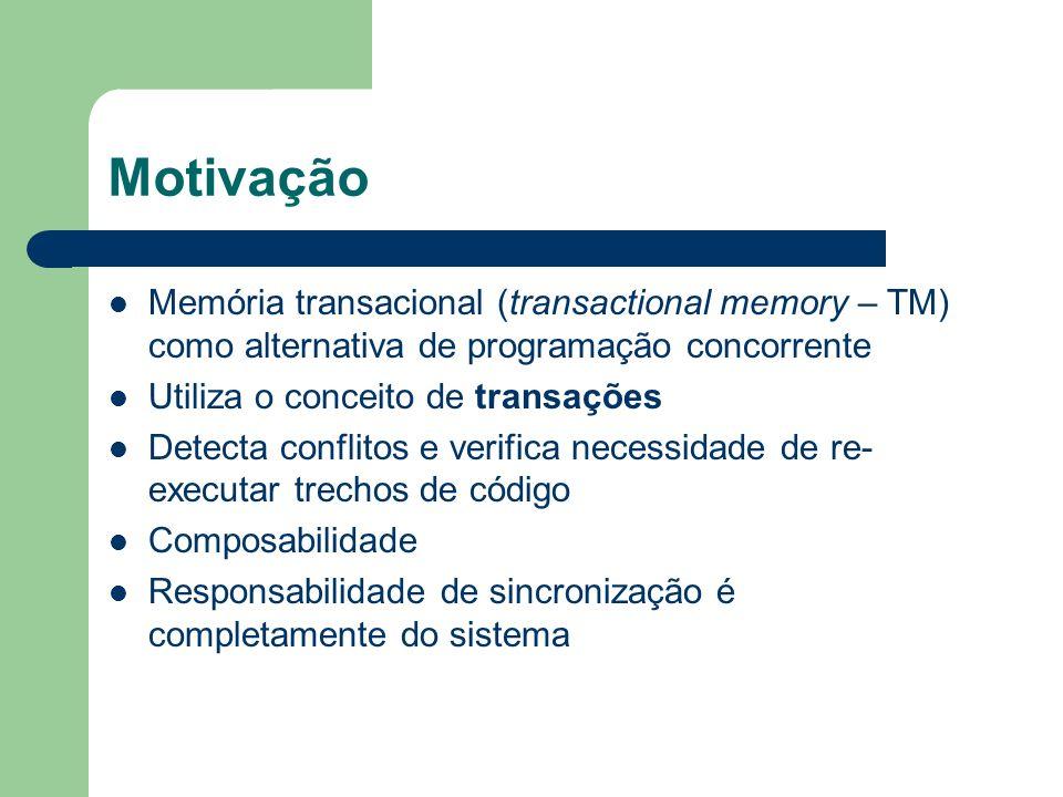 Motivação Memória transacional (transactional memory – TM) como alternativa de programação concorrente.