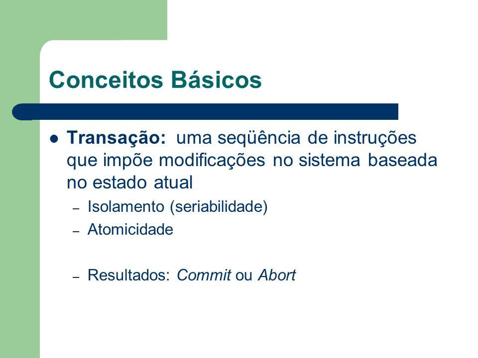 Conceitos Básicos Transação: uma seqüência de instruções que impõe modificações no sistema baseada no estado atual.
