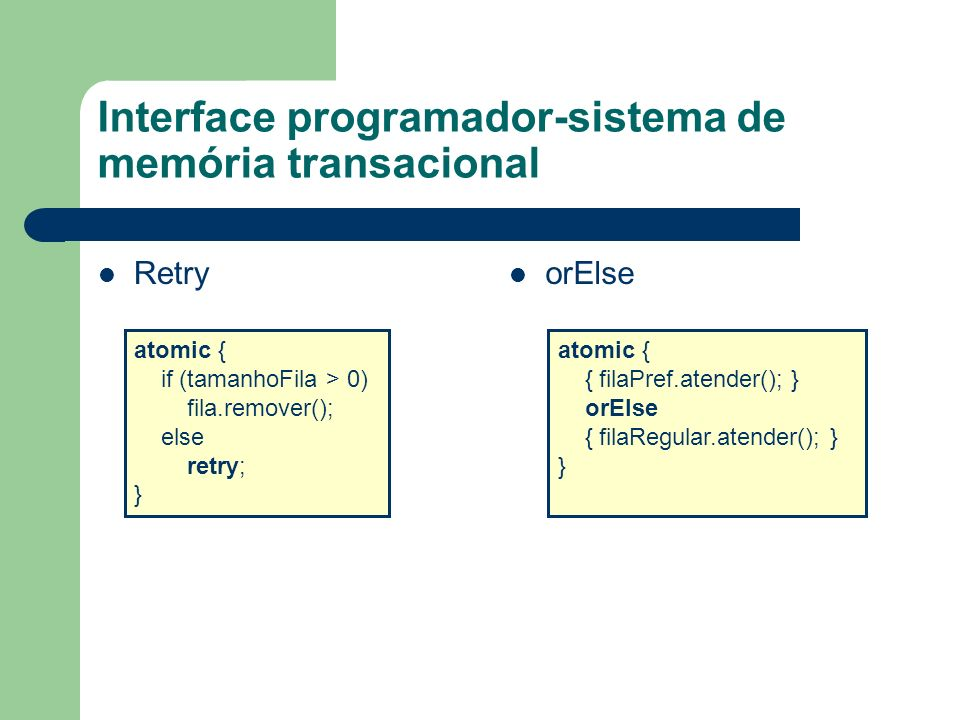 Interface programador-sistema de memória transacional