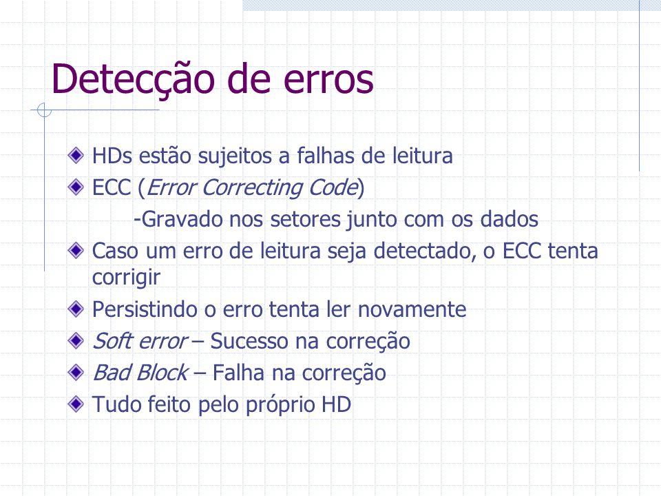 Detecção de erros HDs estão sujeitos a falhas de leitura