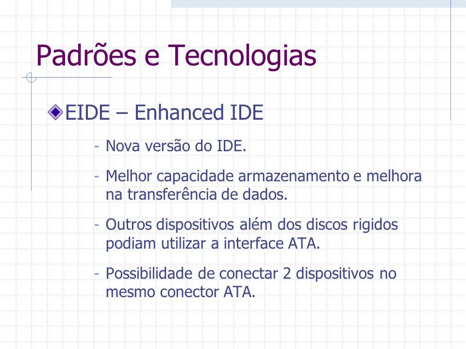 Padrões e Tecnologias EIDE – Enhanced IDE Nova versão do IDE.