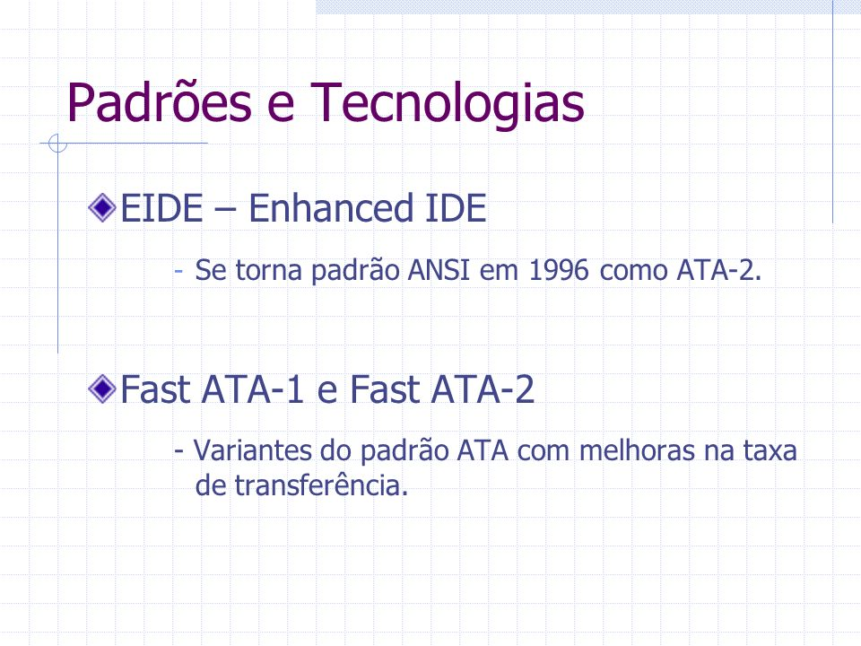Padrões e Tecnologias EIDE – Enhanced IDE Fast ATA-1 e Fast ATA-2