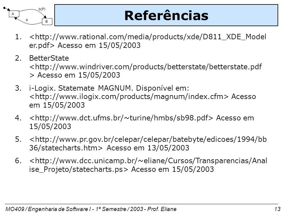 Referências <http://www.rational.com/media/products/xde/D811_XDE_Modeler.pdf> Acesso em 15/05/2003.