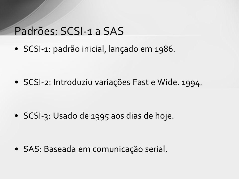 Padrões: SCSI-1 a SAS SCSI-1: padrão inicial, lançado em 1986.