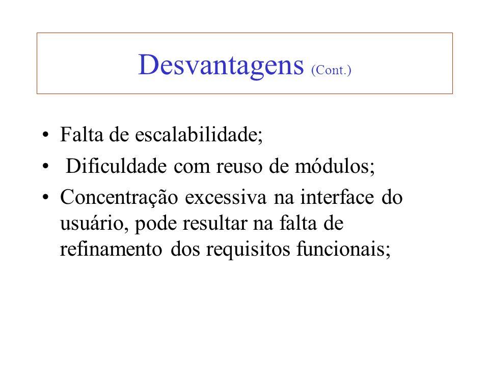 Desvantagens (Cont.) Falta de escalabilidade;