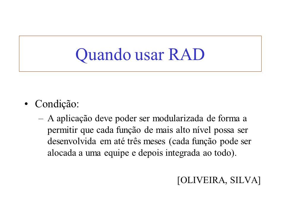Quando usar RAD Condição: