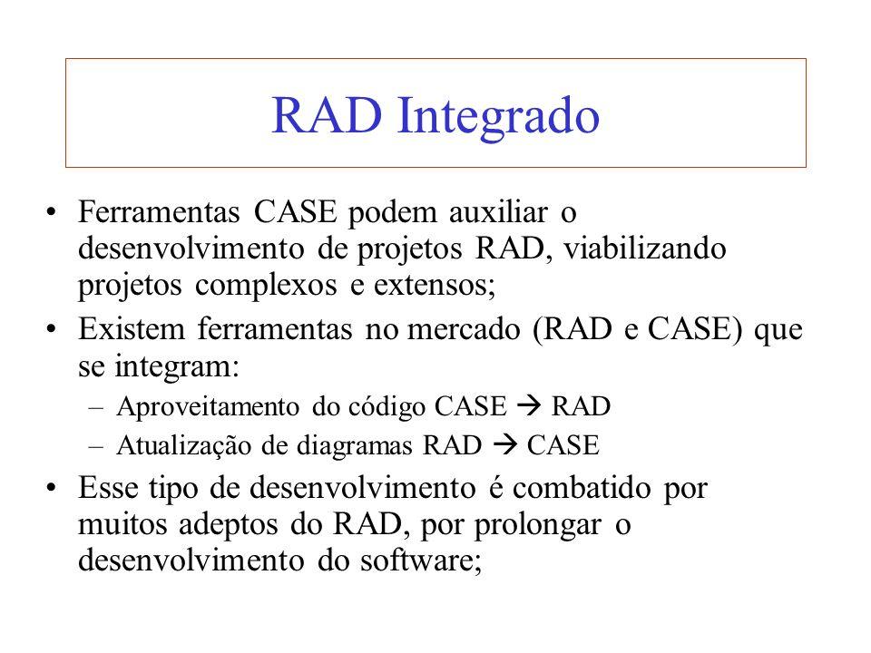 RAD Integrado Ferramentas CASE podem auxiliar o desenvolvimento de projetos RAD, viabilizando projetos complexos e extensos;