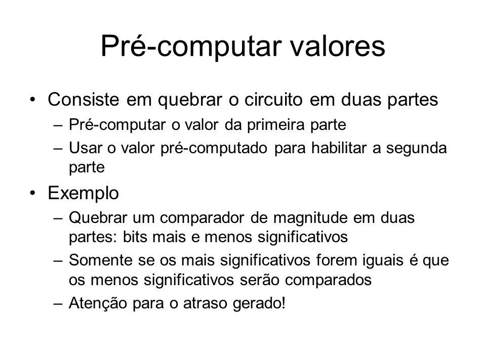 Pré-computar valores Consiste em quebrar o circuito em duas partes