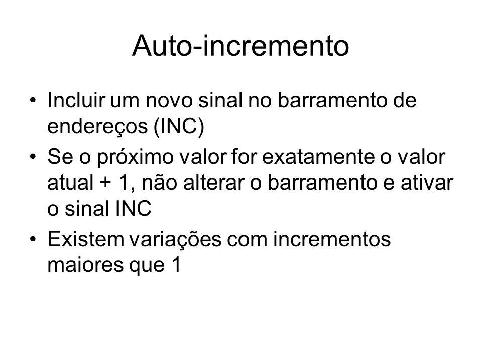 Auto-incremento Incluir um novo sinal no barramento de endereços (INC)