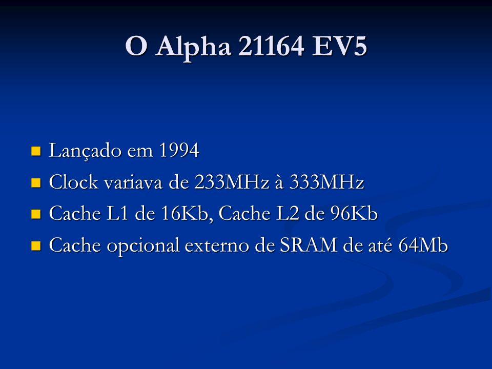 O Alpha 21164 EV5 Lançado em 1994 Clock variava de 233MHz à 333MHz