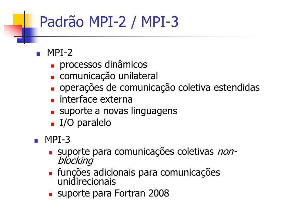 Padrão MPI-2 / MPI-3 MPI-2 processos dinâmicos comunicação unilateral