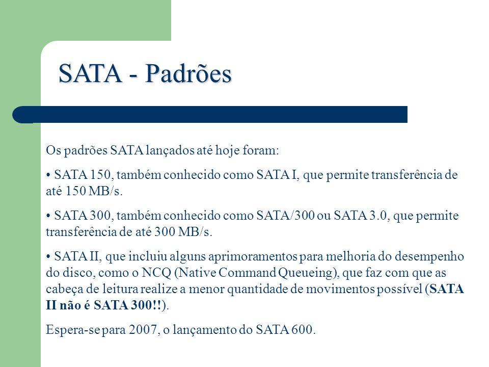 SATA - Padrões Os padrões SATA lançados até hoje foram: