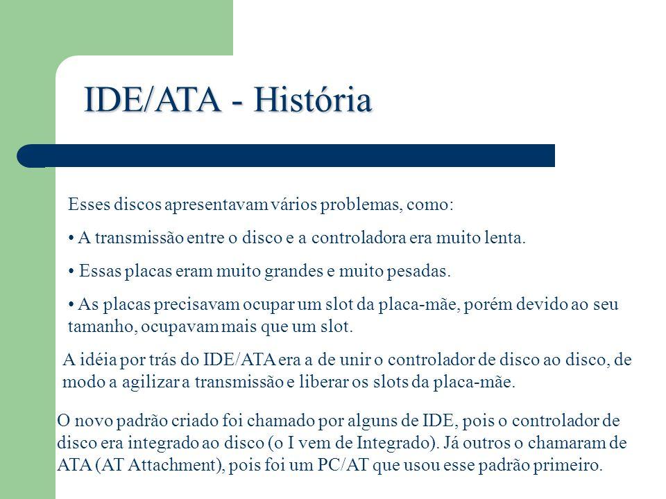 IDE/ATA - História Esses discos apresentavam vários problemas, como: