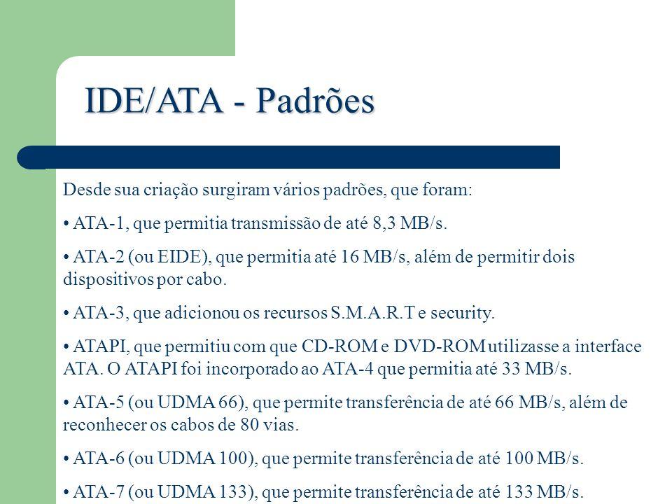 IDE/ATA - Padrões Desde sua criação surgiram vários padrões, que foram: ATA-1, que permitia transmissão de até 8,3 MB/s.