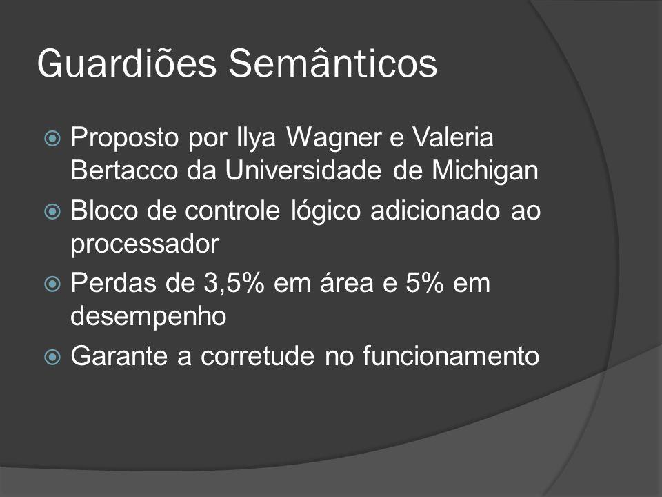 Guardiões Semânticos Proposto por Ilya Wagner e Valeria Bertacco da Universidade de Michigan. Bloco de controle lógico adicionado ao processador.