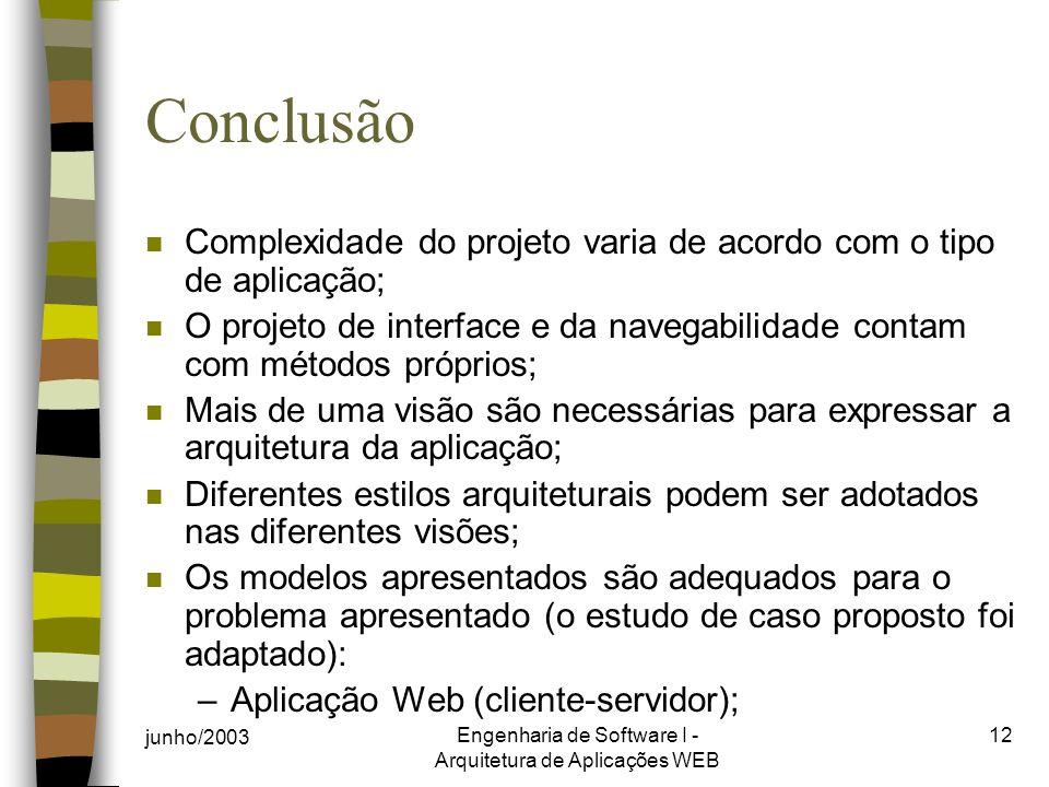 Engenharia de Software I - Arquitetura de Aplicações WEB