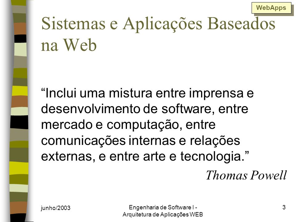 Sistemas e Aplicações Baseados na Web