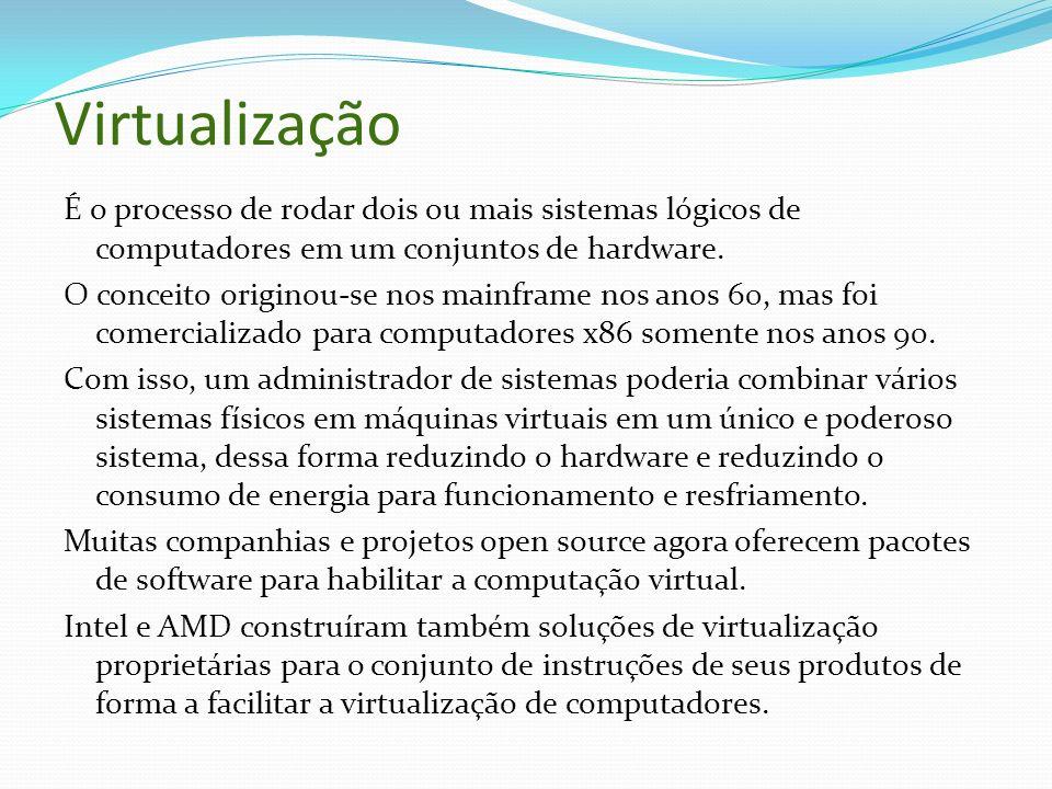 Virtualização É o processo de rodar dois ou mais sistemas lógicos de computadores em um conjuntos de hardware.