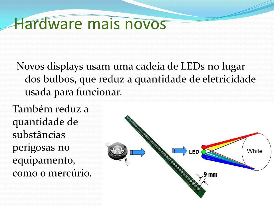 Hardware mais novos Novos displays usam uma cadeia de LEDs no lugar dos bulbos, que reduz a quantidade de eletricidade usada para funcionar.