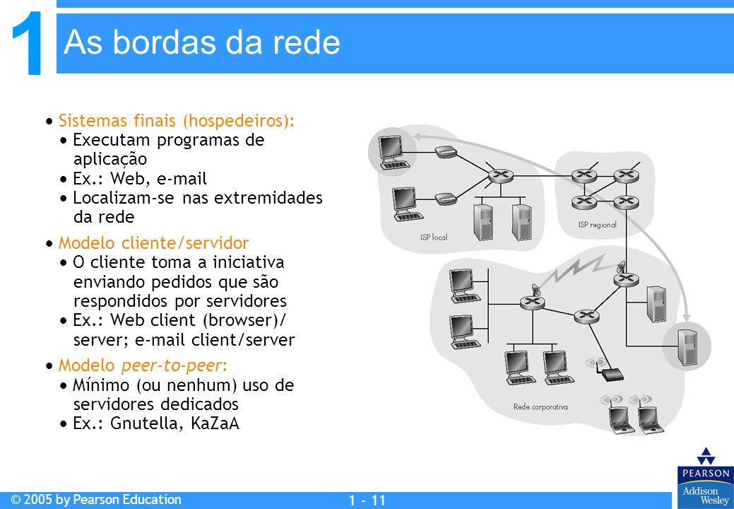 As bordas da rede  Sistemas finais (hospedeiros):